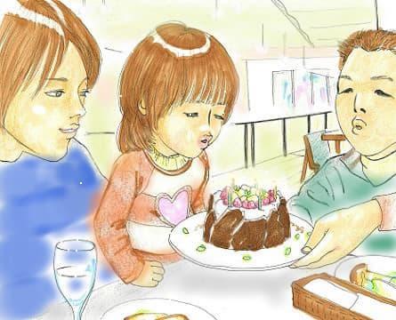 オフ会にてケーキのろうそくを代表で吹き消すⅯちゃん